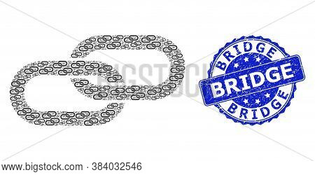 Bridge Scratched Round Stamp Seal And Vector Recursive Mosaic Chain. Blue Stamp Seal Contains Bridge