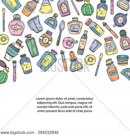 Vector Illustration With Perfume Bottles, Beakers And Essential Oils. Place For The Text. Preparatio