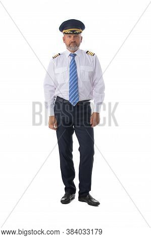 Airline Pilot Wearing The Four Bar Captains Epaulettes, Firlst Pilot, Aircraft Commander, Isolated O