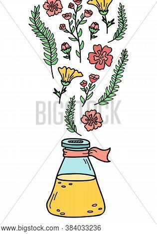 Vector Illustration With A Bottle Of Perfume. Preparation Of Perfumes.