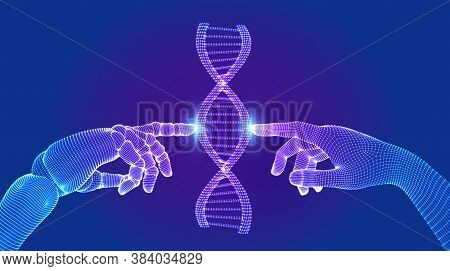 Wireframe Dna Sequence Molecules Structure Mesh. Hands Of Robot And Human Touching On Dna Connecting