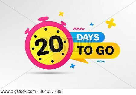 Twenty Days Left Icon. Countdown Left Days Banner With Timer. 20 Days To Go Sign. Sale Announcement