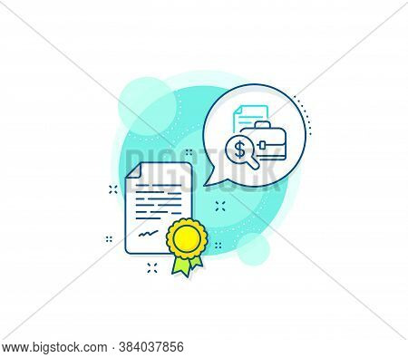 Audit Sign. Certification Complex Icon. Accounting Report Line Icon. Check Finance Symbol. Certifica