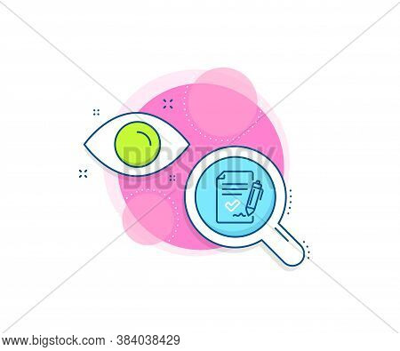 Sign Document. Research Complex Icon. Approved Agreement Line Icon. Accepted Or Confirmed Symbol. An