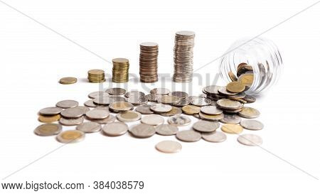 A Collection Of Thai  Baht Coins On A White Background And Clipping Path. This Coin Is Denominated I