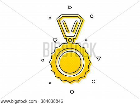 Winner Achievement Symbol. Award Medal Icon. Glory Or Honor Sign. Yellow Circles Pattern. Classic Me