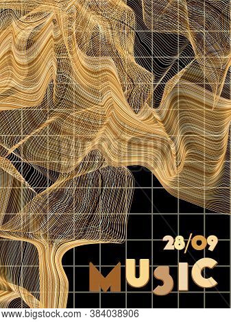 Music Cover In Gold, Yellow, Copper Colors. Rock Concert Flyer. Minimal Line Brochure. Amplitude Lay
