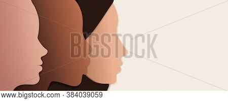 Silhouette Group Of Multiethnic Women Who Talk And Share Ideas And Information. Women Social Network