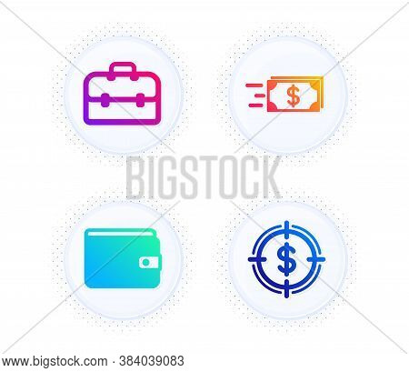 Money Wallet, Portfolio And Money Transfer Icons Simple Set. Button With Halftone Dots. Dollar Targe