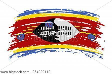 Kingdom Of Eswatini Flag In Grunge Brush Stroke, Vector