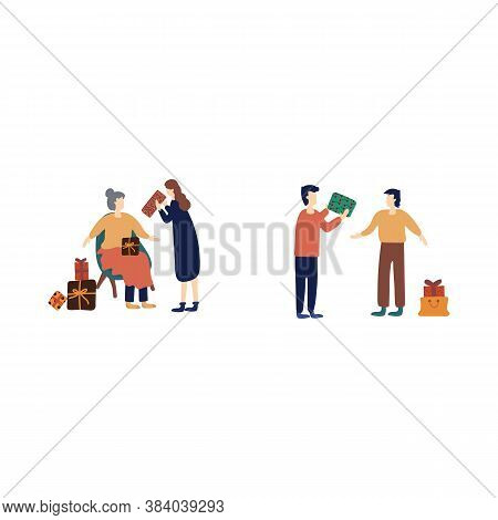 A Set Of People Preparing For The Winter Holidays. Dress Up The Christmas Tree And Prepare Gifts, Gi