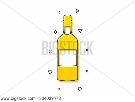 Whiskey Or Scotch Alcohol Sign. Brandy Bottle Icon. Yellow Circles Pattern. Classic Brandy Bottle Ic