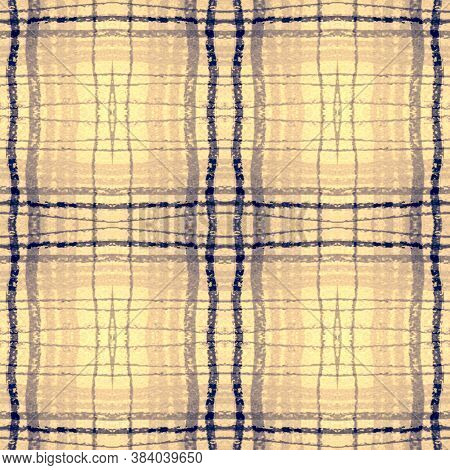 Indigo Square Plaid. Seamless Checkered Print. Scottish Tartan Fabric. Rustic Man Repeat. Square Pla