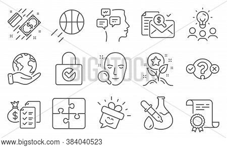 Set Of Business Icons, Such As Messages, Loyalty Points. Diploma, Ideas, Save Planet. Face Search, Q