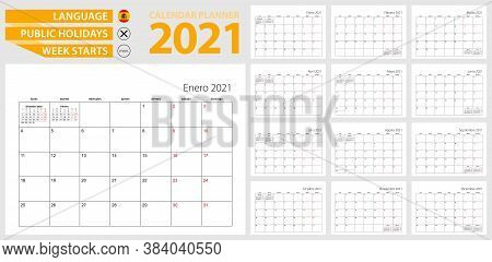 Spanish Calendar Planner For 2021. Spanish Language, Week Starts From Monday. Vector Template.