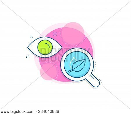 Herbal Leaf Sign. Research Complex Icon. Mint Leaves Line Icon. Tea With Mentha Symbol. Analytics Or