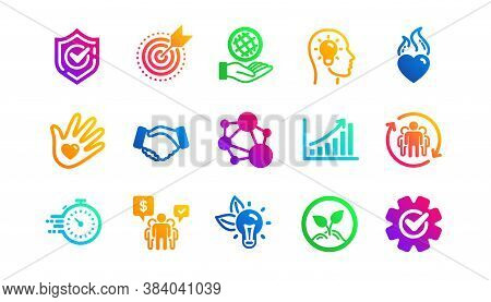 Integrity, Target Purpose And Strategy. Core Values Icons. Trust Handshake, Social Responsibility, C