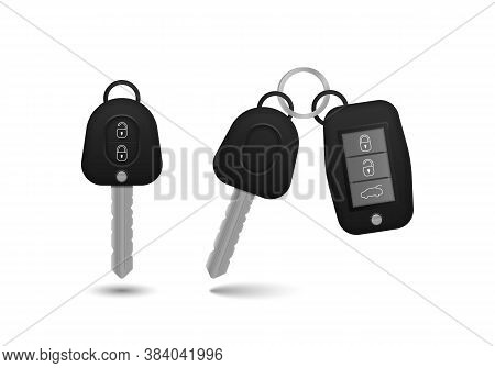 Realistic Car Keys Black Color Isolated On White Background. Set Of Electronic Car Key Front And Bac