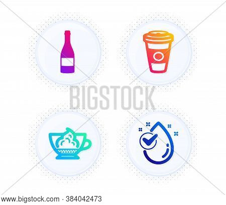 Espresso Cream, Champagne Bottle And Takeaway Coffee Icons Simple Set. Button With Halftone Dots. Wa