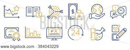 Set Of Education Icons, Such As Facts, Time Management. Certificate, Save Planet. 24 Hours, Online V