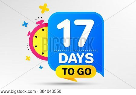Countdown Left Days Banner With Timer. Seventeen Days Left Icon. 17 Days To Go Sign. Sale Announceme
