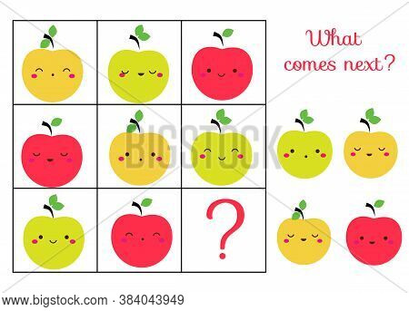 What Comes Next Educational Children Game. Kids Activity Sheet, Continue The Row Of Apples