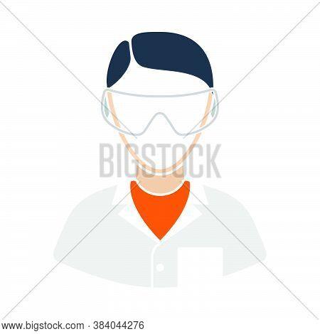Icon Of Chemist In Eyewear. Flat Color Design. Vector Illustration.