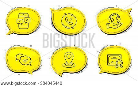 Location Sign. Diploma Certificate, Save Planet Chat Bubbles. Call Center, Phone Survey And Approved