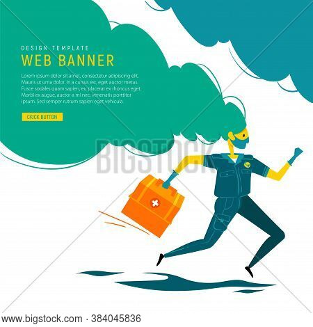 Medical Banner. Emergency Doctor In Medical Mask And Gloves With Medical Box Run To Rescue. Doctor R