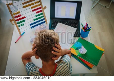Kid Tired And Stressed By Doing Homework