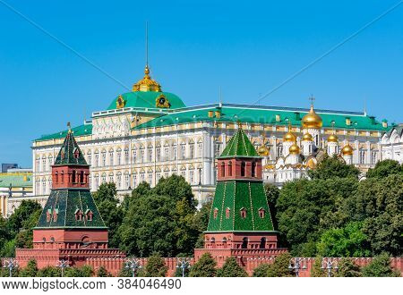 Grand Kremlin Palace And Towers Of Moscow Kremlin, Russia