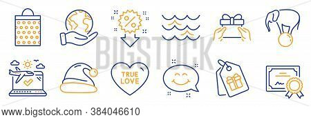 Set Of Holidays Icons, Such As Waves, Give Present. Certificate, Save Planet. Santa Hat, Discount, S