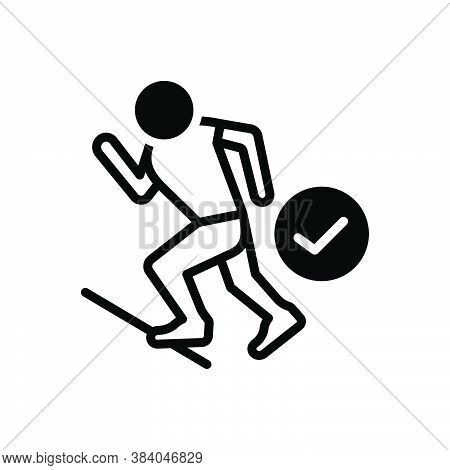 Black Solid Icon For Ready Prepared Get-ready Athlete Run Start Steady Track