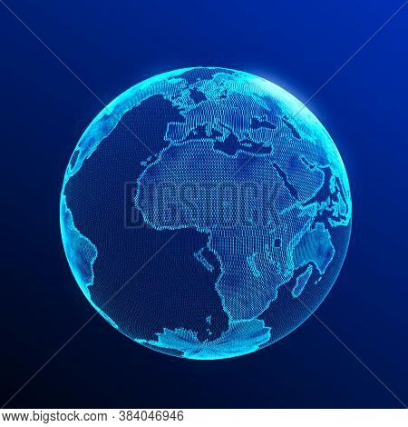 Global Network Connection. Abstract Earth Map. Big Data Visualization. 3D Rendering.