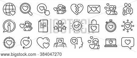 Couple, Romantic And Heart Icons. Love Line Icons. Valentines Day Love Symbols. Divorce Or Break Up