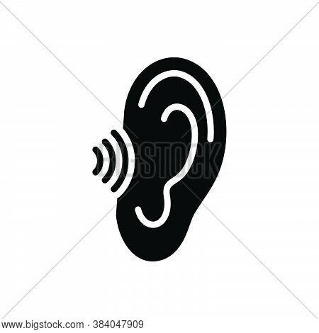 Black Solid Icon For Hear Hark Listen Hearken Hear-out Ear Audible Anatomy Sound Volume Acoustic Hum