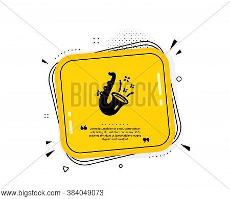 Jazz Icon. Quote Speech Bubble. Saxophone Musical Instrument Sign. Music Symbol. Quotation Marks. Cl