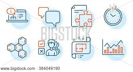 Speech Bubble, Time And Chemical Formula Signs. Opinion, Architectural Plan And Strategy Line Icons