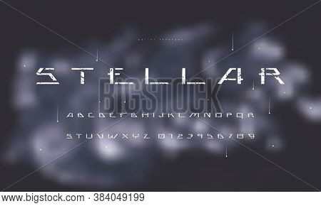 Stencil-plate Sans Serif Futuristic Font On Blurred Background. Letters And Numbers With Rough Textu
