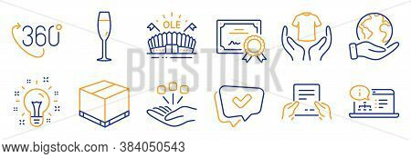 Set Of Business Icons, Such As Online Documentation, Champagne Glass. Certificate, Save Planet. Hold