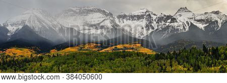 The Sneffels Range. Golden Leaves Of Aspen Trees In The Beautiful Rocky Mountains Of Colorado.