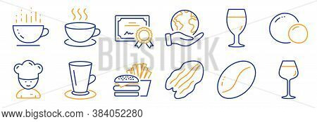 Set Of Food And Drink Icons, Such As Beer Glass, Cappuccino. Certificate, Save Planet. Coffee Beans,