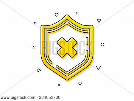 Decline Shield Sign. Reject Protection Icon. No Security. Yellow Circles Pattern. Classic Reject Pro