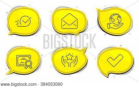 Checkbox Sign. Diploma Certificate, Save Planet Chat Bubbles. Ranking, Mail And Tick Line Icons Set.