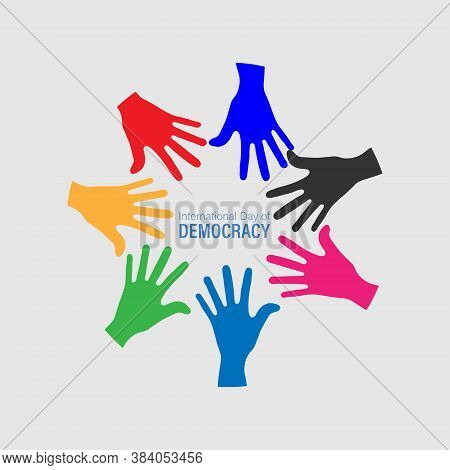 International Day Of Democracy. September 15 Concept Design. Black Hand. Abstract Concept For Genera