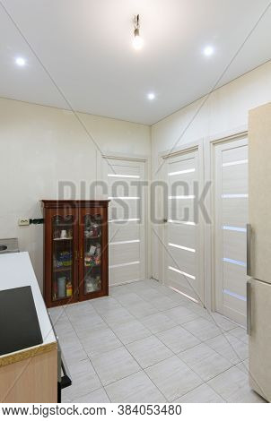 Interior Of A New Living Room Kitchen With Temporary Furniture In A New Building