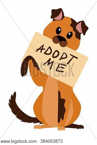 Homeless Dog With Poster Adopt Me Holding In The Teeth Isolated On White. Pet For Adoption. Vector C