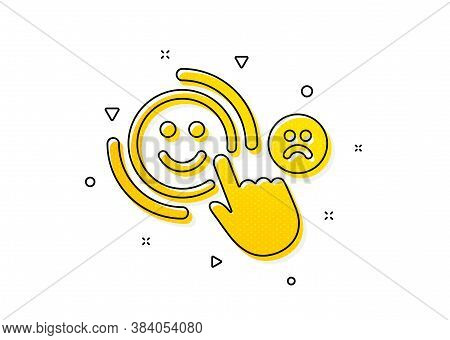 Positive Feedback Sign. Customer Satisfaction Icon. Smile Symbol. Yellow Circles Pattern. Classic Cu