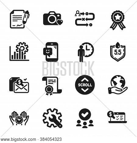 Set Of Technology Icons, Such As Photo Camera, Scroll Down. Certificate, Approved Group, Save Planet