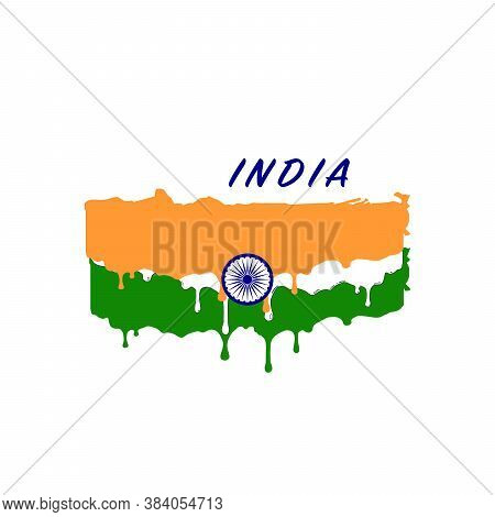 Painted India Flag, India Flag Paint Drips. Stock Vector Illustration Isolated On White Background